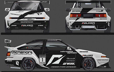RC Car Truck RACING Drift NEED FOR SPEED AE86 TRUENO Decals Logos Sponsors