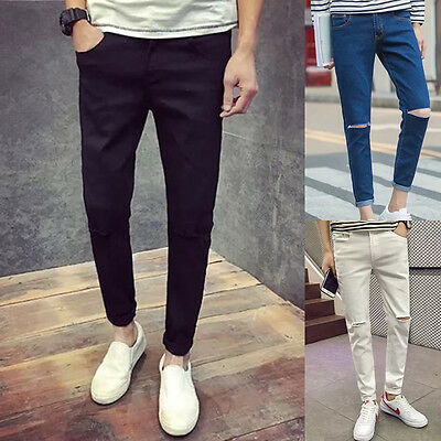 Fashion Mens Designed Straight Slim Fit Denim Jeans Trousers Casual Skinny Pants