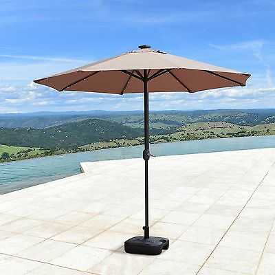 9'ft solar 24 led lights patio garden umbrella outdoor sunshade 9 Ft Umbrella Base