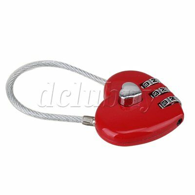3 Digits Heart Shape Love Lock Code Luggage Padlock Present Gift For Girlfriend