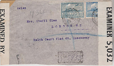 1942 Attractive Uruguay Stamps On Montevideo Ww2 Era Censor Cover Sent To London