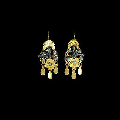 Fabulous antique Victorian bird earrings, silver and 14k gold, turquoise M-F