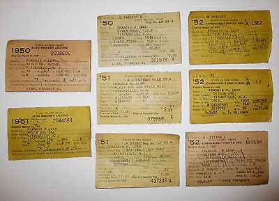 8 Vtg 1950 1951 1952 NEW JERSEY DRIVERS LICENSES & REGISTRATIONS - Antique Car