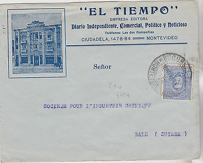 1914 Attractive Early Uruguay Stamp On Montevideo Cover Sent To Switzerland