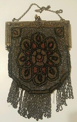 1920s Vintage Beaded Flapper Purse w/ Mirror