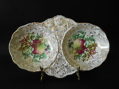 James Kent Double Sectioned Serving Platter With Fruit Design 5167 C1950S