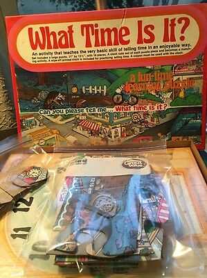 """Vintage Warren Paper Products """"What Time Is It?"""" Learning Puzzle Made in USA"""