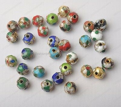 20Pcs 10mm Mixed-color Chinese Enamel Cloisonne Round Craft Beads