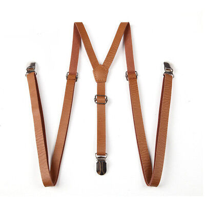 Practical Clip-on Suspenders 3 Metal Clips Faux Leather Braces Costume Accessory