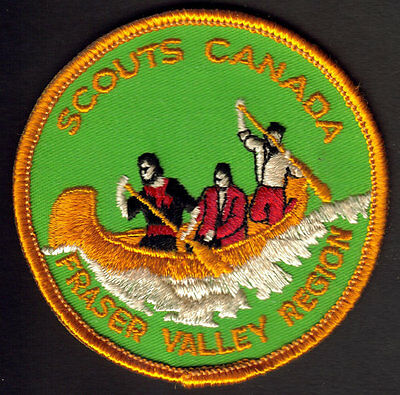Boy Scouts Canada Fraser Valley Region B.c. Large Embroidered Patch Canoe