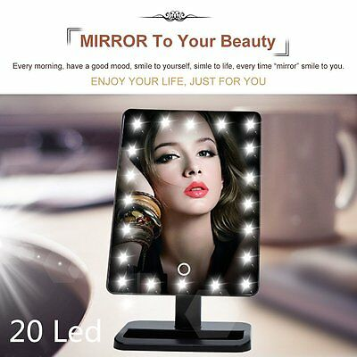 Touch 20 LED Light Illuminated Make Up Cosmetic Bathroom Shaving Vanity Mirror H