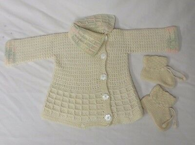 Vintage 20s Baby Sweater Coat Booties Crocheted Knit Wool  MOP Buttons Doll Set