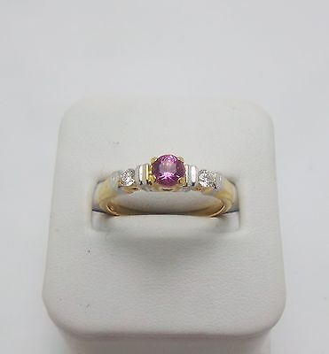 18ct YELLOW GOLD DIAMOND & PINK SAPPHIRE RING VALUED @$1568 COMES WITH VALUATION