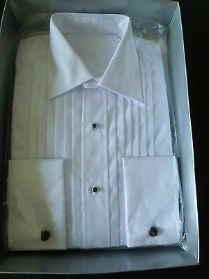 BN Rocola White Pleat Dress Shirt Standard Collar Double Cuff Stud Front  15""