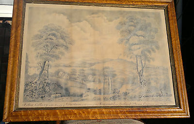 Antique Pen & Ink Drawing Mining Colliery Durham in Maple Frame C1873 Signed