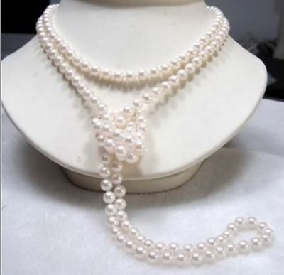 "50"" 7-8mm White South sea white Pearl Necklace 14K clasp a1"