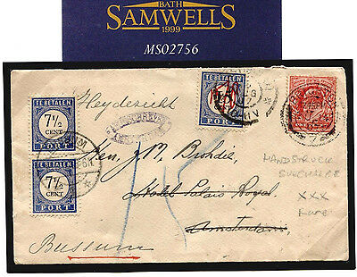 MS2756 1907 NETHERLANDS *Manuscript Surcharge Postage Due* Amsterdam GB Mail