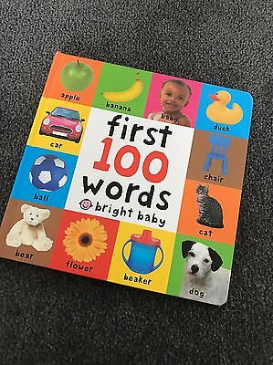 First 100 Words Bright Baby Hardcover Hard Cover Baby Book Toddler Kids