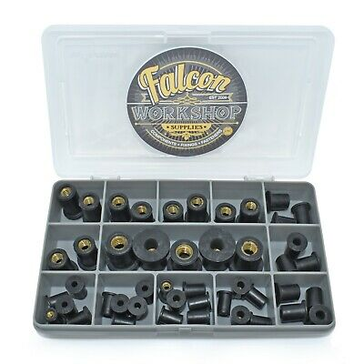 45 Assorted Piece M3 M4 M5 M6 M8 Black Rubber Rub Nut Well Nuts Rivet Rivnut Kit