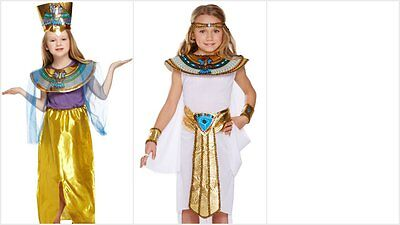 Girls Kids Cleopatra Queen Of The Nile Egyptian Fancy Dress Costume 4-12 Years