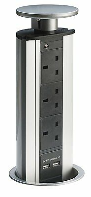 Desk Surface Pull-out/Pop-up Power POD 3x UK Sockets 2x USB  Extension Cord PDU