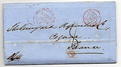 1853 entire letter from Stallards wine merchant Worcester to Cognac France.