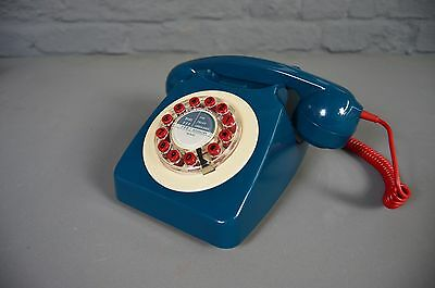 Retro Vintage Mid Century Style Phone Petrol Blue Red Cord