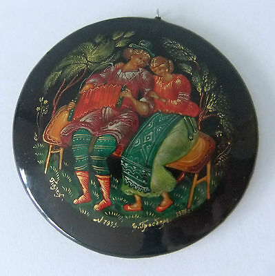 Exquisite Vintage Russian Black Lacquer Miniature, Signed and Dated