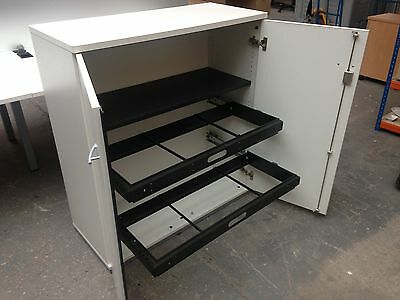 Large White Office Cupboard, Stationery, Lateral Filing Cabinet,office Supplies