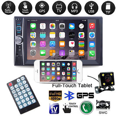 """7"""" 2 DIN In Car FM Stereo Radio MP5 Player GPS Touch Screen Bluetooth + Camera"""