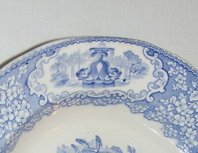Vintage Antique English Victorian  Blue & White Ironstone Pottery Bowl  C.  1860