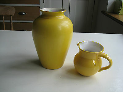 Yellow Pottery Vase and Jug (not matching)