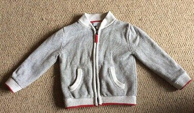 The Little White Company Boy Zip Up Grey Cardigan With Red Trim 2-3, Immaculate