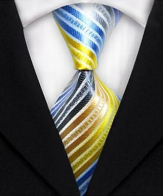 Blue, Gray, Gold, And Yellow Striped Classic 100% Silk Men's Necktie #2099