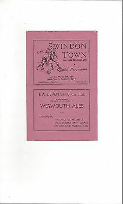 Swindon Town v Cardiff City Combination Cup Football Programme 1947/48