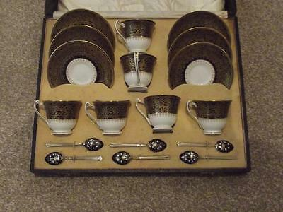 George Jones Crescent China Super Rare Boxed Tea/ Coffee Set With Enamel Spoons