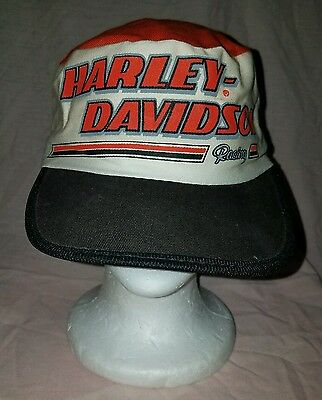 Vintage 80s HARLEY DAVIDSON MOTORCYCLES painter's cap hat MADE IN USA Racing