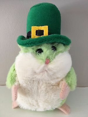 St Patrick's Day Green Hamster Stuffed Animal Plush Toy Leprechaun Hat ADORABLE