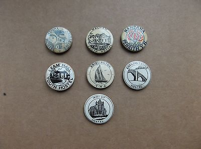 Set Of 7 Small Vintage Youth Hostel  Badges