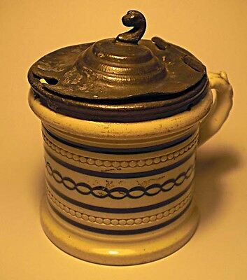 A cream ware mustard pot with pewter lid, English c. 1820