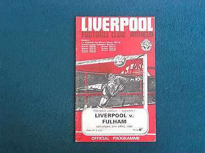 Liverpool V Fulham Football Programme 1968