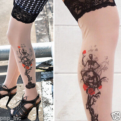 Sheer Skeleton Rose Tree Tattoo Print Thigh High Sheer Floral Lace Top Stockings