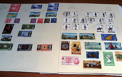 300 Channel Islands Stamps On Album Pages, Good Selection, Guernsey, Jersey, Iom