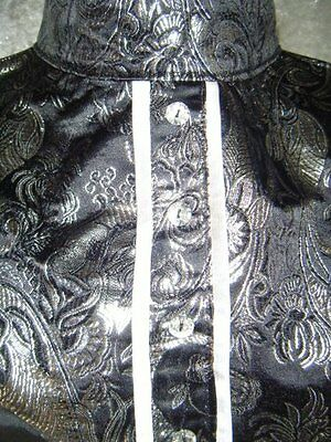 Black Brocade with Silver Paisley Print Dickie