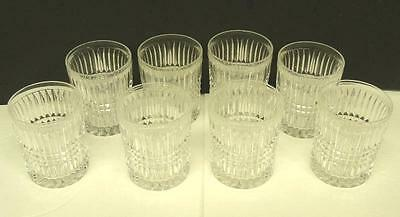8 Elegant Vintage Clear Press Cut Crystal Rock Glasses Whiskey Scotch Tumblers