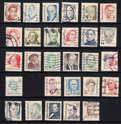 USA used stamps - 1985-94 Great Americans up to $5, SG2108/2136, used