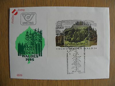 Austria Cover - 1985 Forestry Minisheet Cover, unaddressed
