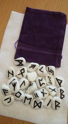 Runes Set 25 Handcrafted Small White Stones & Guidance On Use Pagan/occult/wicca