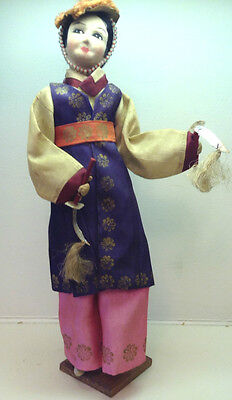 """Beautiful Antique Korean Dancing Doll on Stand-14"""" Tall - Gift in 1947"""