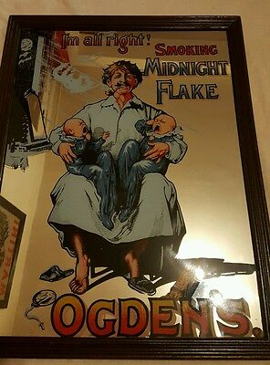 Ogdons Midnight Flake Tabacco Cigarette Advertising Mirror. Rare. Old. Antique